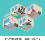 isometric house rooms  home set | Shutterstock .eps vector #508460749