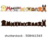 cats and dogs border set with... | Shutterstock .eps vector #508461565