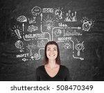smiling woman in black is... | Shutterstock . vector #508470349