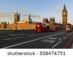 London  England  Uk. Red Buses...