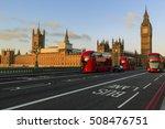 London  England  Uk. Red Buses...