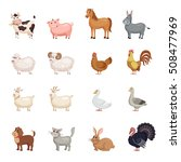 cute farm animals set in flat... | Shutterstock .eps vector #508477969