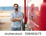 handsome masculine driver with... | Shutterstock . vector #508483675