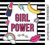 "vector poster ""girl power"" with ... | Shutterstock .eps vector #508488067"