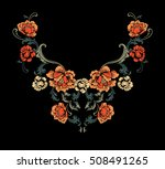 floral neck embroidery design.... | Shutterstock .eps vector #508491265