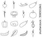vegetables icons set. outline...   Shutterstock .eps vector #508501861