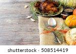 seasonal wooden table setting... | Shutterstock . vector #508514419