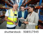 warehouse team discussing with... | Shutterstock . vector #508517545