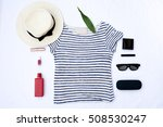 flat lay fashion set ... | Shutterstock . vector #508530247