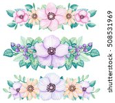 Set of Watercolor Floral Bouquets with Light Blue, Yellow and Pink Flowers