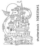 Castle And Dragon Vector...