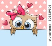 greeting card cute cartoon owl... | Shutterstock .eps vector #508539505