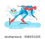ice speed skater cartoon...   Shutterstock .eps vector #508551205