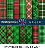 set christmas tartan seamless... | Shutterstock .eps vector #508551394