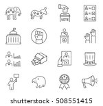 set of vote icon in thin line... | Shutterstock . vector #508551415