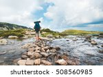 hiker man with backpack... | Shutterstock . vector #508560985