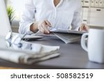 businesswoman working in office | Shutterstock . vector #508582519