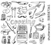 hand drawn cooking decorative... | Shutterstock .eps vector #508587361