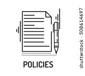policies line icon | Shutterstock .eps vector #508614697