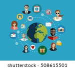 global social network abstract... | Shutterstock .eps vector #508615501