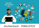 global social network abstract... | Shutterstock .eps vector #508615525
