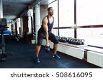 fit healthy man exercising with ... | Shutterstock . vector #508616095