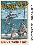 vintage deep sea fishing poster ... | Shutterstock . vector #508616815