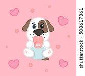 cartoon cute girl puppy in... | Shutterstock .eps vector #508617361
