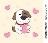 cartoon cute puppy with hearts  ... | Shutterstock .eps vector #508617979