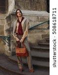 woman fall fashion. beautiful... | Shutterstock . vector #508618711