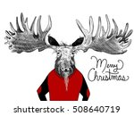 vintage red christmas sweater... | Shutterstock . vector #508640719