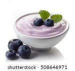 bowl of purple blueberry yogurt ... | Shutterstock . vector #508646971