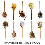 collection of various spices in ... | Shutterstock . vector #508649701