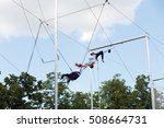 moscow   may 26  2016  acrobats ... | Shutterstock . vector #508664731
