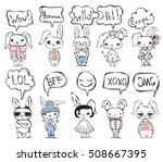set of 10 cute fashion rabbits... | Shutterstock .eps vector #508667395