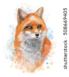Fox On Watercolor Background....