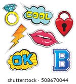 fashion patch badges with lips  ...