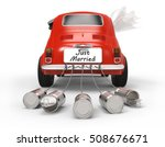 just married car isolated on... | Shutterstock . vector #508676671