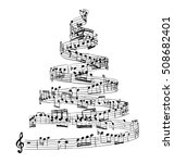 christmas tree from music notes....