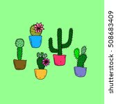 set of cactus.cactus set on a... | Shutterstock .eps vector #508683409