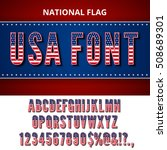 usa flag font. alphabet ... | Shutterstock .eps vector #508689301