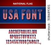 Usa Flag Font. Alphabet ...