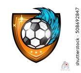 soccer ball with wind blue... | Shutterstock .eps vector #508692847