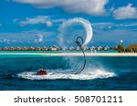 silhouette of a fly board rider ... | Shutterstock . vector #508701211