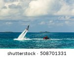 silhouette of a fly board rider ... | Shutterstock . vector #508701331