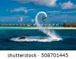 silhouette of a fly board rider ... | Shutterstock . vector #508701445