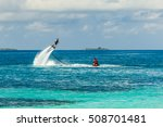 silhouette of a fly board rider ... | Shutterstock . vector #508701481