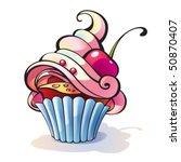 sweet tart with sugar cherry on ... | Shutterstock .eps vector #50870407