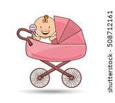 cute newborn pink pram design... | Shutterstock .eps vector #508712161