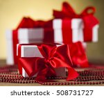 gift box with red ribbon ... | Shutterstock . vector #508731727